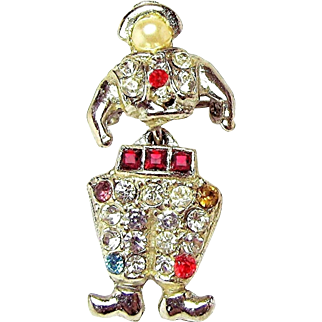 Vintage Articulated DUTCH BOY Pave-set Rhinestone Lapel BROOCH c.1940's