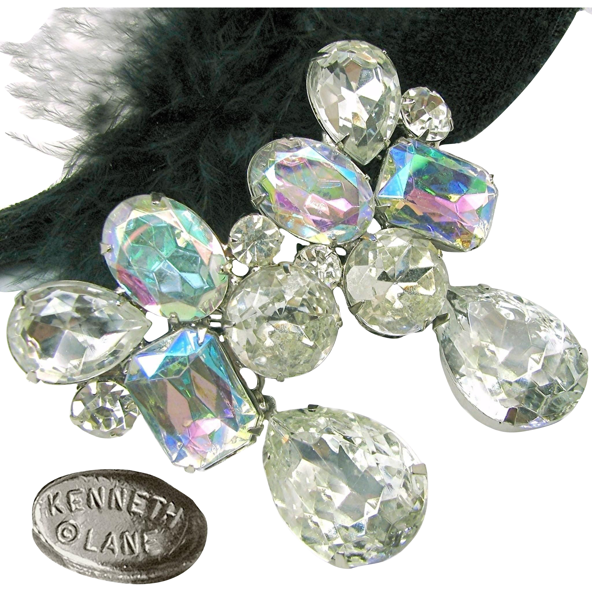 Vintage Drippy Kenneth J Lane Earrings of Brilliant Clear White 'n Rainbow Rhinestones