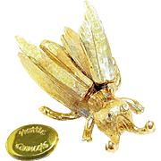 HATTIE CARNEGIE's 'Flying' Meadow Visitor Brooch w/ Trembler Wings c.1940's