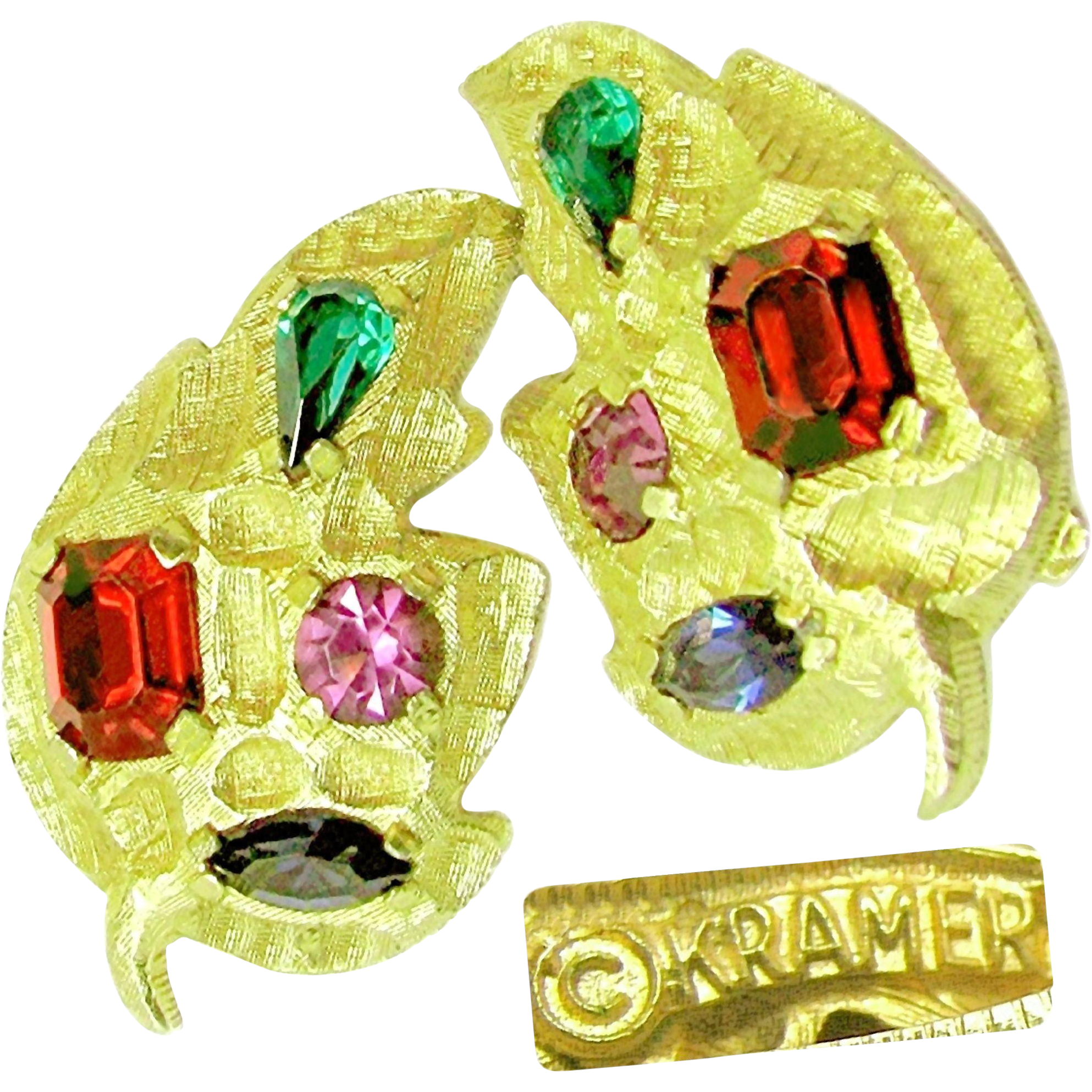 Dramatic KRAMER Statement Earrings w/ Glass Jewel-tone Realistic Prong Set Stones