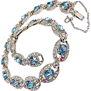 Vintage ART DECO Rhinestone Link Necklace c.1930's Eye Candy