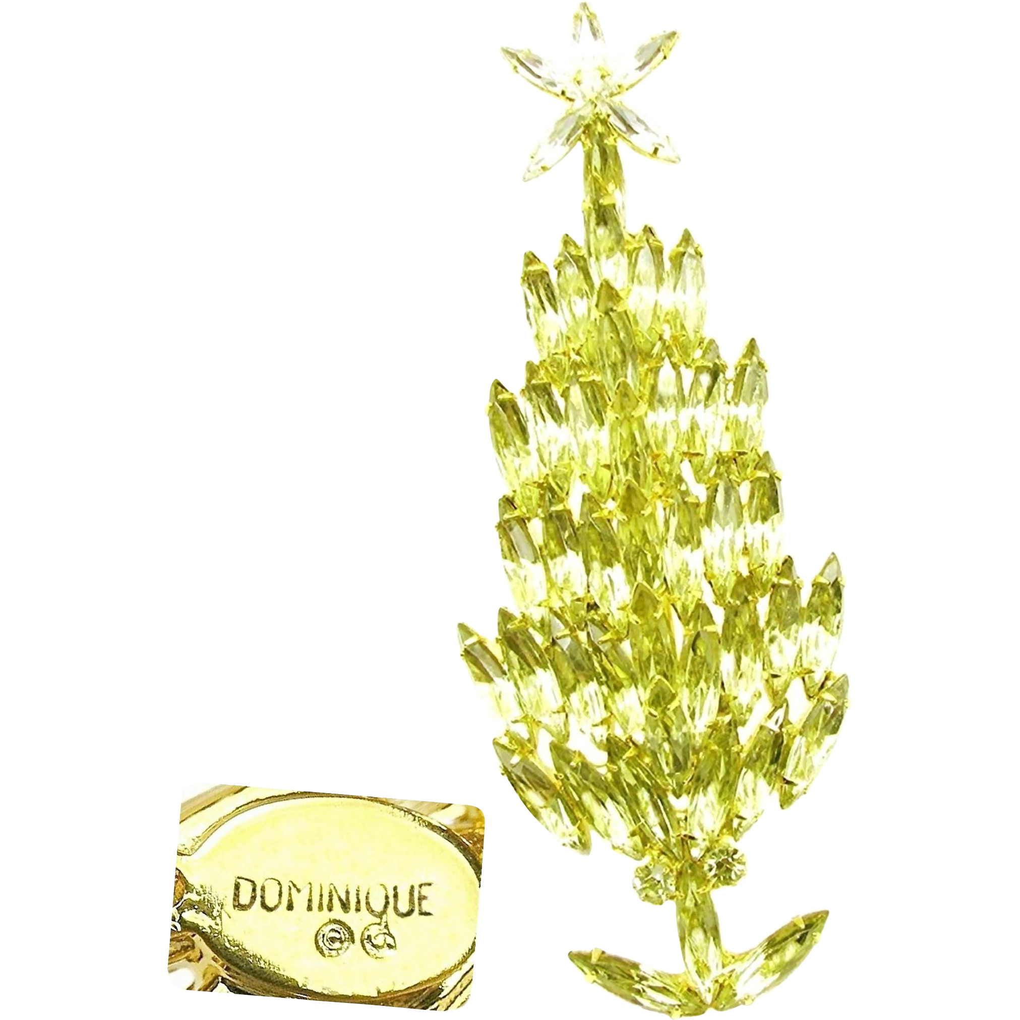 Gorgeous Tall Slender CHRISTMAS Tree Brooch w/ Jonquil Rhinestones by DOMINIQUE