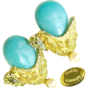 Vintage HATTIE CARNEGIE Glass Turquoise Flower Earrings w/ Pear Rhinestones