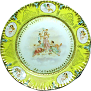Large Art Nouveau THREE GRACES 'n CHERUBS Cabinet Plate c.1900 Austria