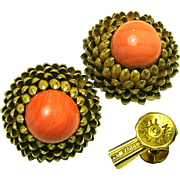 Vintage Miriam Haskell Gilded Brass Artichoke Earrings w/ Swirling Coral Art Glass