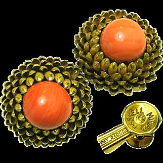 Vintage Miriam Haskell Gilded Brass Artichoke Earrings w/ Swirling Coral Art Glass