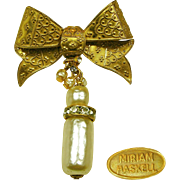 Vintage MIRIAM HASKELL Fancy Bow Pin w/ Baroque Pearls 'n Rhinestone Drop