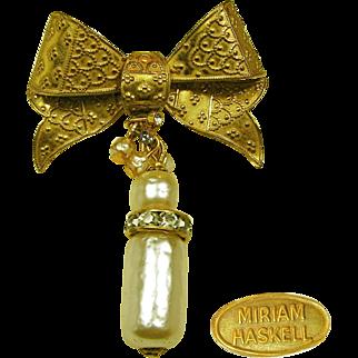 Vintage MIRIAM HASKELL Fancy Bow Pin w/ Baroque Pearls 'n Rhinestone Drop