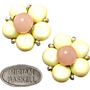 Pretty Vintage MIRIAM HASKELL Button Earrings of Pink Quartz 'n Ivory Glass Elements in Silver Gilt Settings