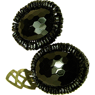 Vintage MIRIAM HASKELL Black Glass Dress Clips c.1930's Classic