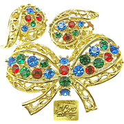 Lacy Jewel-tone Rhinestone CORO Bow Brooch w/ Earrings Des. Pat.Pend. c.1940's