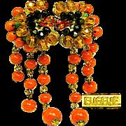 Vintage EUGENE EARRINGS Exotic Art Glass Flowers w/ Drippy Glass Coral Tendrils c.1950's