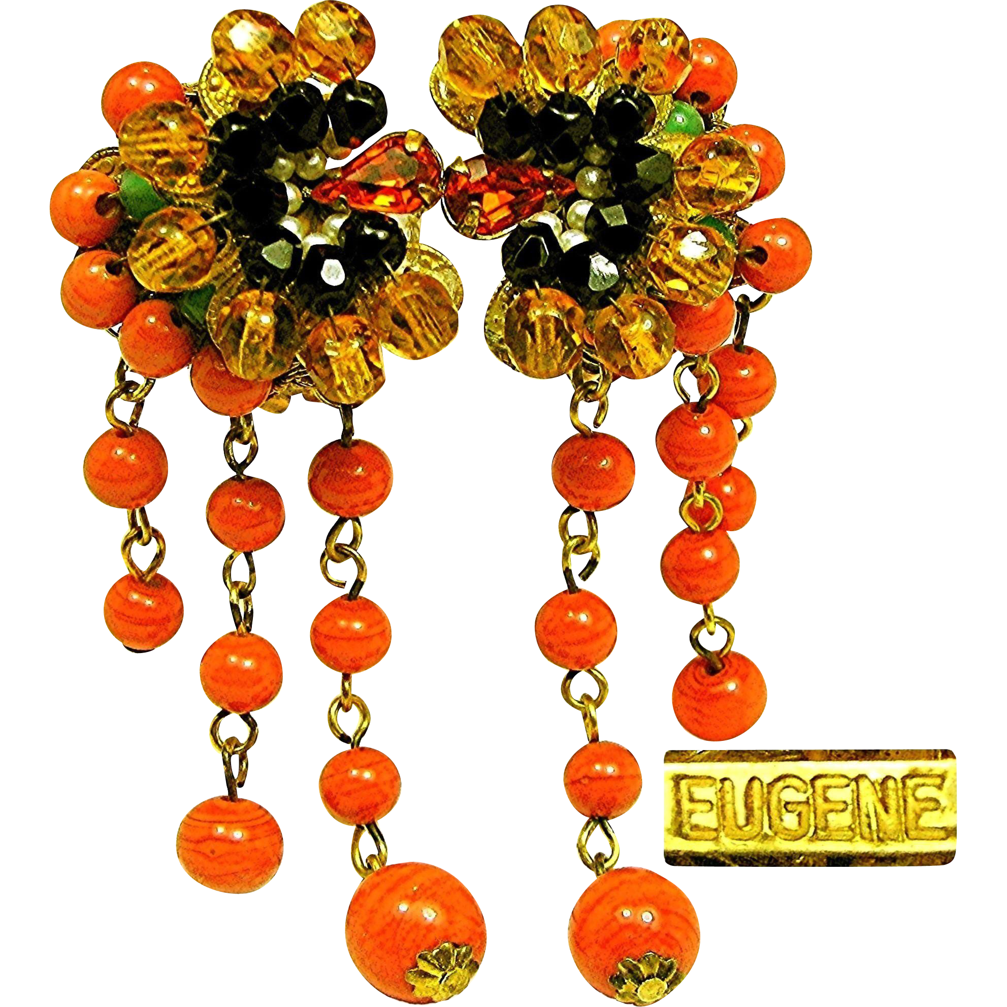 Vintage EUGENE EARRINGS Exotic Art Glass Flowers w/ Drippy Glass Coral Tendrils c.1950's