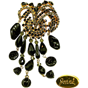 Vintage 5 Inch JONNE Waterfall / Flower Brooch of Art Glass w/ Rhinestones