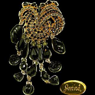 Dazzling 5 Inch JONNE Waterfall / Flower Brooch of Art Glass w/ Rhinestones