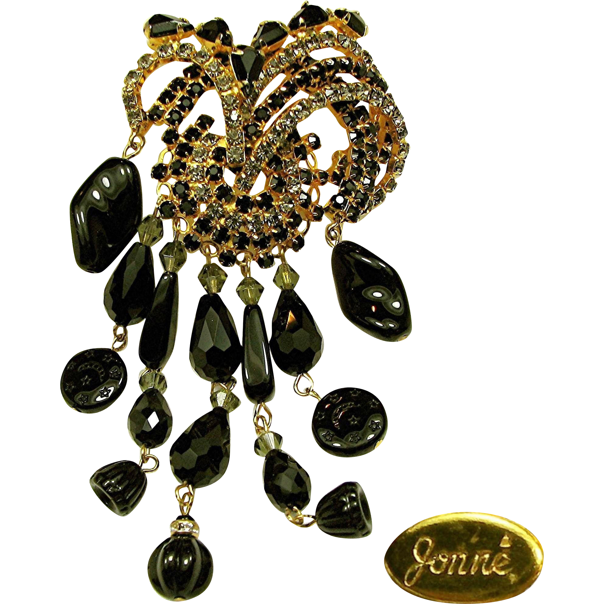Dazzling 5 Inch JONNE Waterfall / Flower Brooch of Art Glass w/ Rhinestones