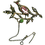 c.1900 Continental Silver Partridge in a Pear Tree Brooch w/ Paste Stones