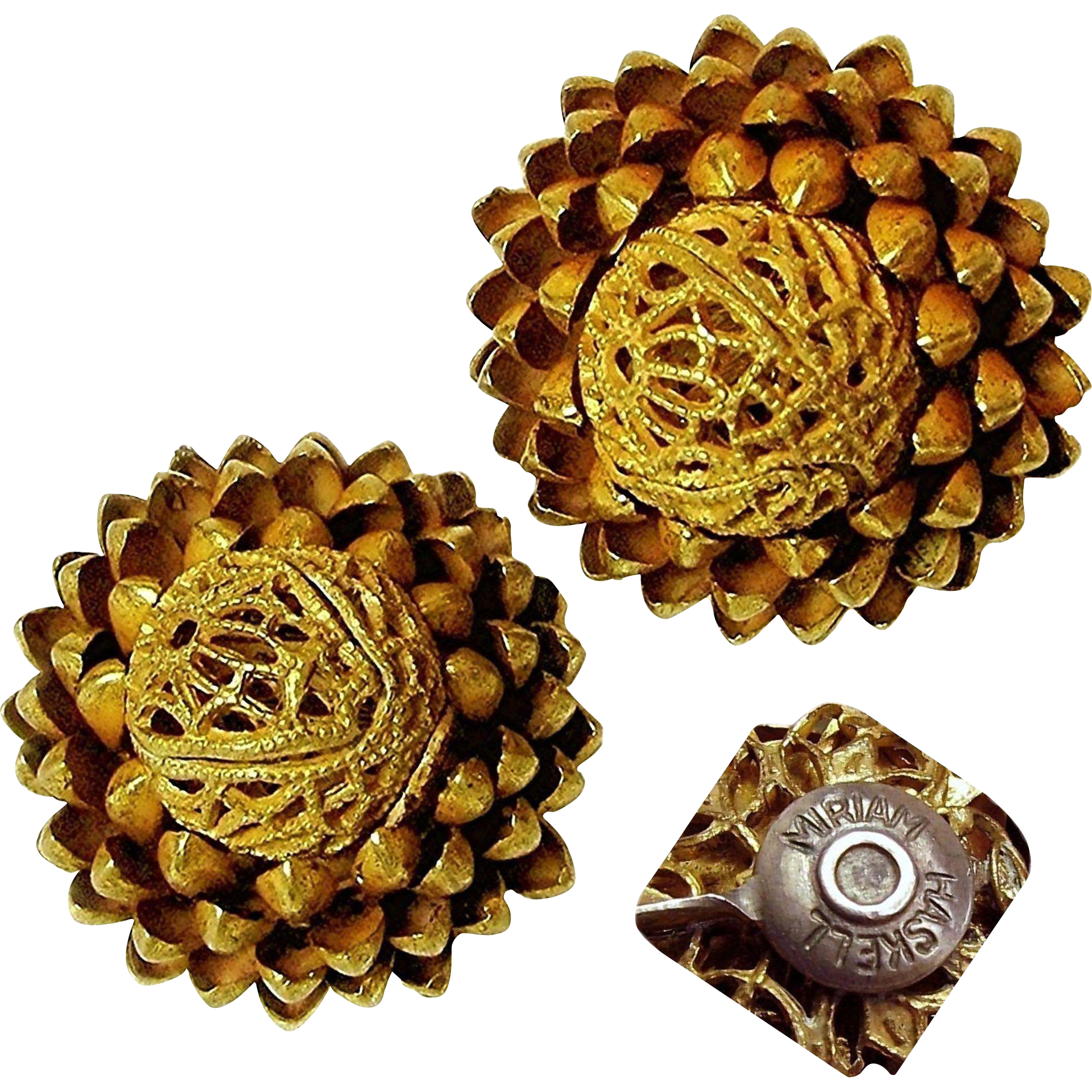 Vintage MIRIAM HASKELL PINECONE Earrings of Russian Gilt Filigree