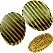 Vintage MIRIAM HASKELL ZEBRA Stripe Earrings Real Wood Slices
