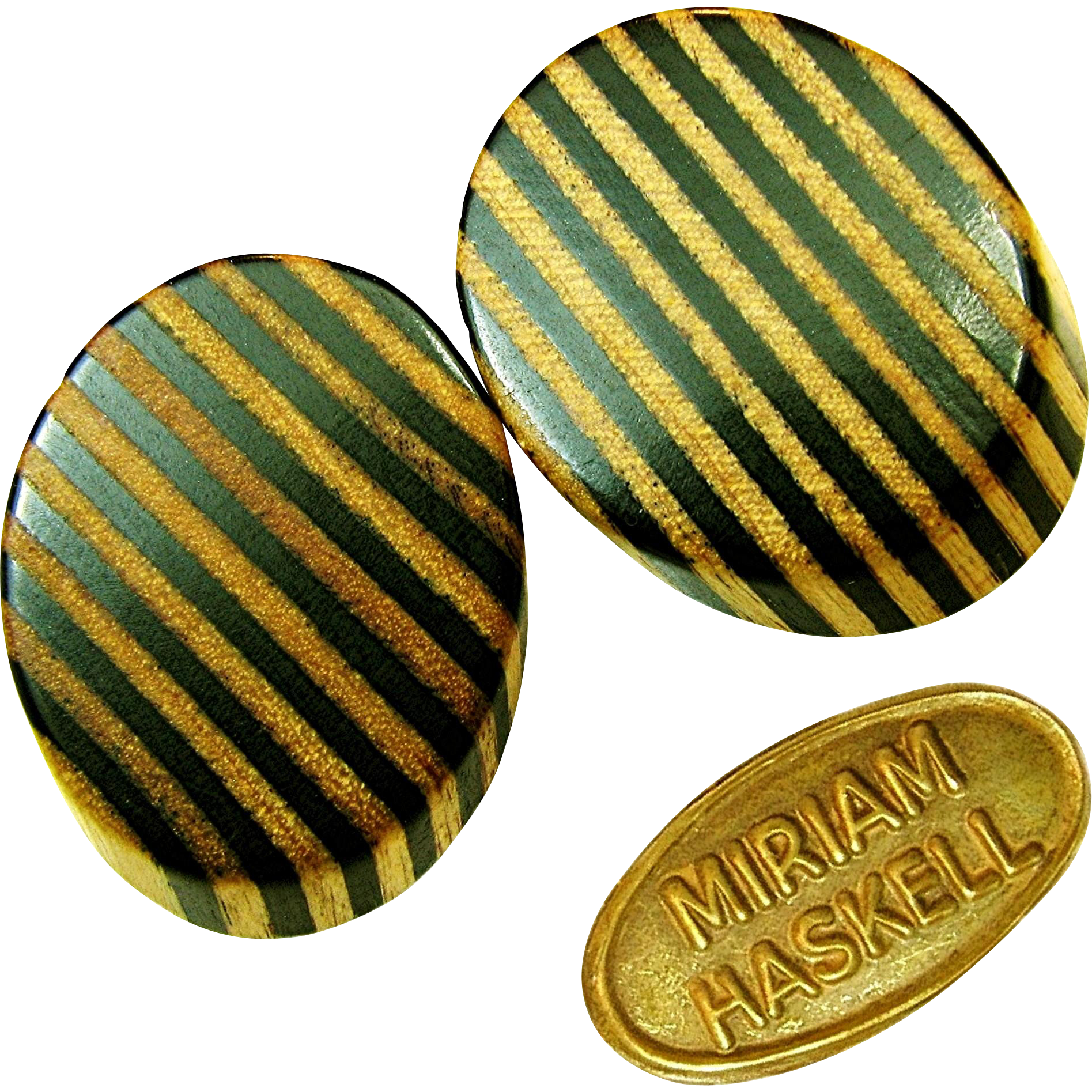 Vintage MIRIAM HASKELL Exotic ZEBRA Stripe Earrings of Sliced Real Wood