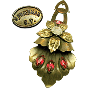Striking S. FRIEDMAN N.Y. Floral Dress Pin Clip w/ Fuchsia Rhinestones c.1940's