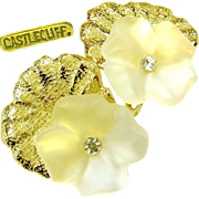 Vintage CASTLECLIFF Crystal PANSY 3-D Earrings Shadowed w/ Gleaming Textured Gold Plate