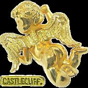 Fantasy Castlecliff -Golden Cherub has Just Landed- Brooch Dubbed a 'Pinch Pin' c.1966