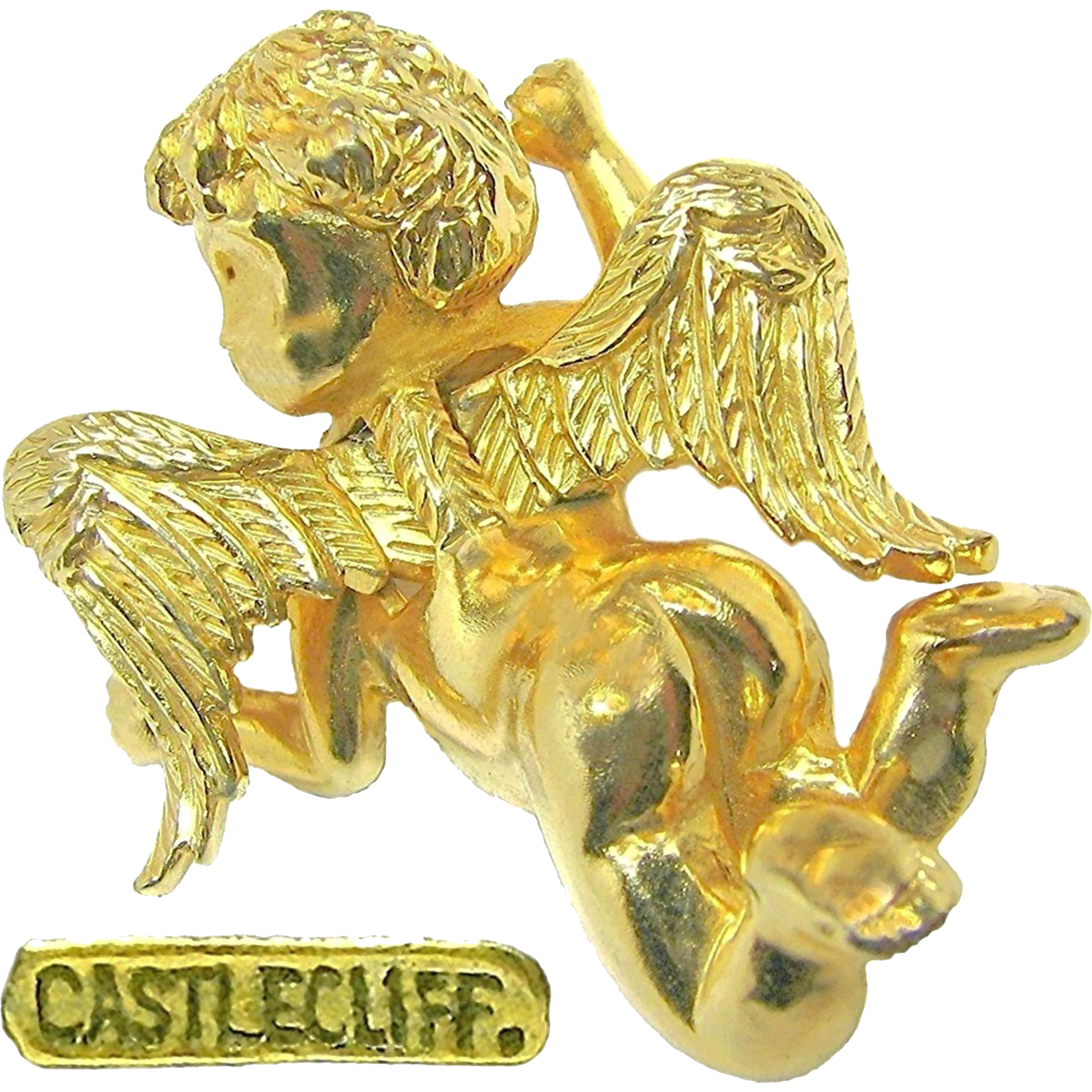 Fantasy Castlecliff -Golden Cherub has Just Landed- Brooch Dubbed a 'Pinch Pin' c.1966