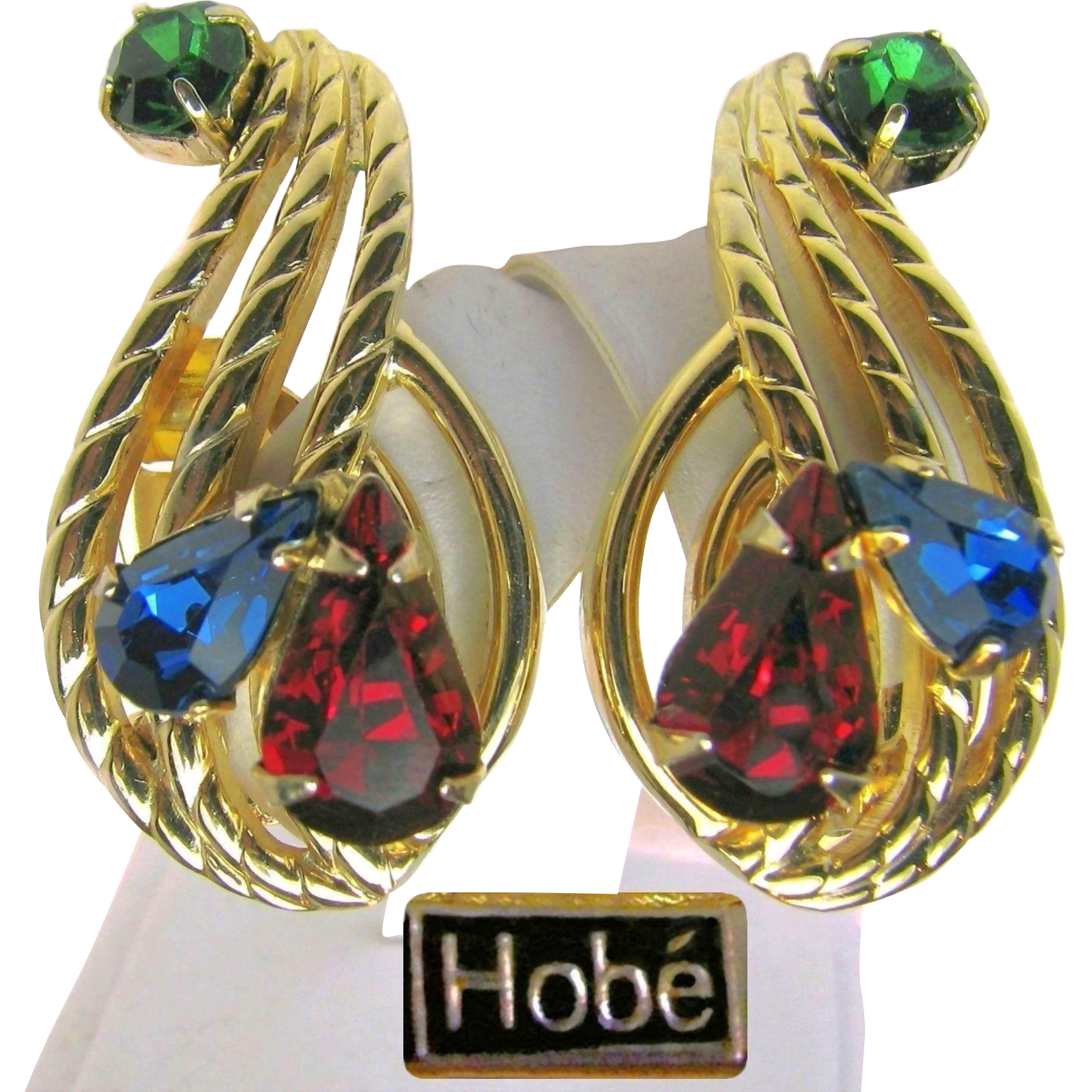 Gorgeous Hobé Jewel-tone Rhinestone CLIMBER Earrings - Pat. Pend. circa early 1950's