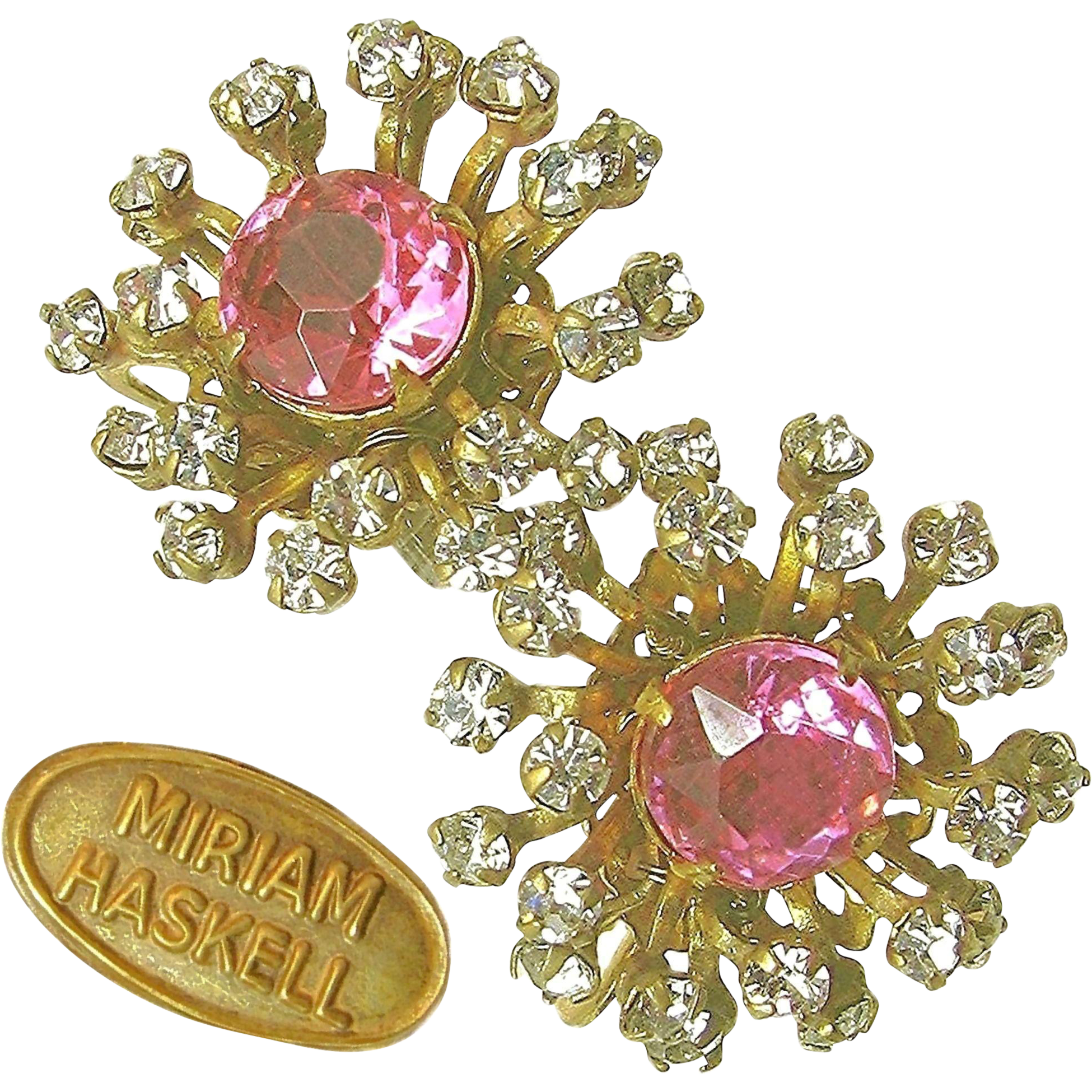 Vintage MIRIAM HASKELL Pink Rhinestone Center Earrings w/ Bursts of Prong Set PASTES c.1940's