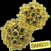Ornate SANDOR Gilded Brass Victorian Revival EARRINGS w/ Garnet Rhinestones c.1940's
