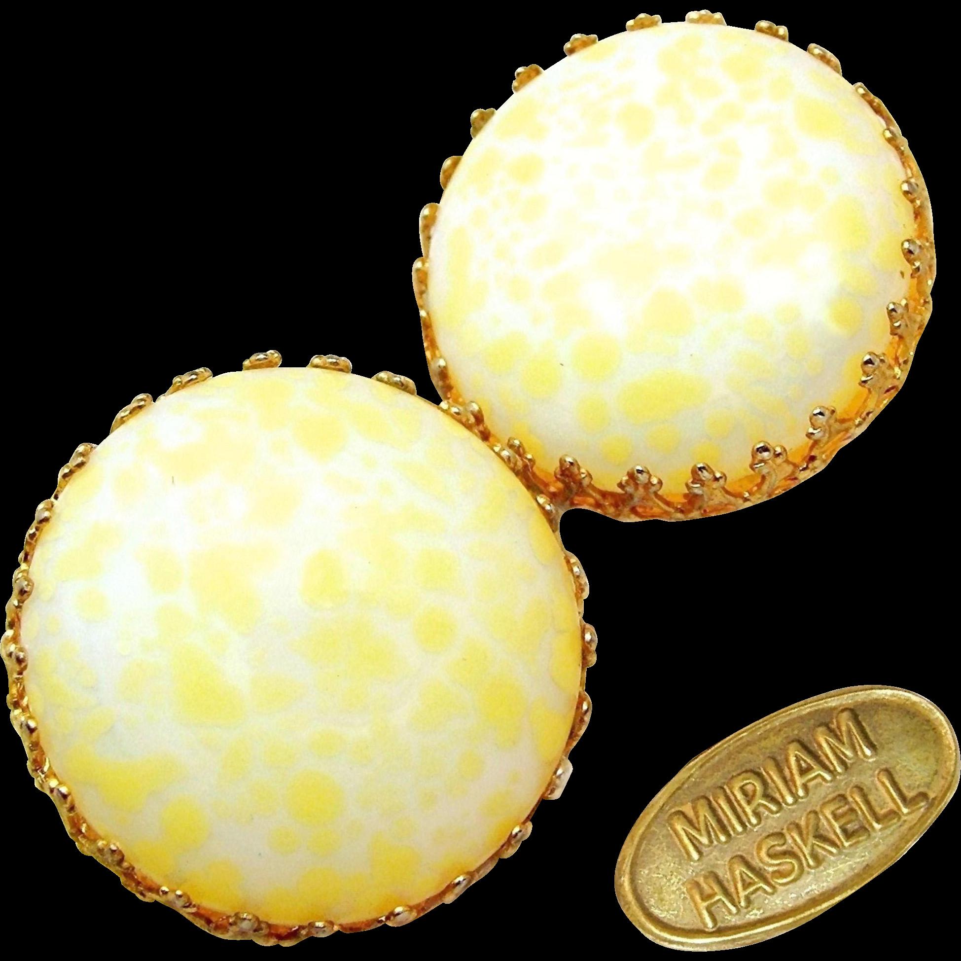 Vintage MIRIAM HASKELL Earrings w/ Elegant Pale Easter Egg Yellow Pate de Verre Glass