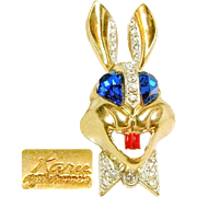 Whimsical Vintage KARU's Colorful Rabbit Brooch w/ Bright Blue Rhinestone Eyes