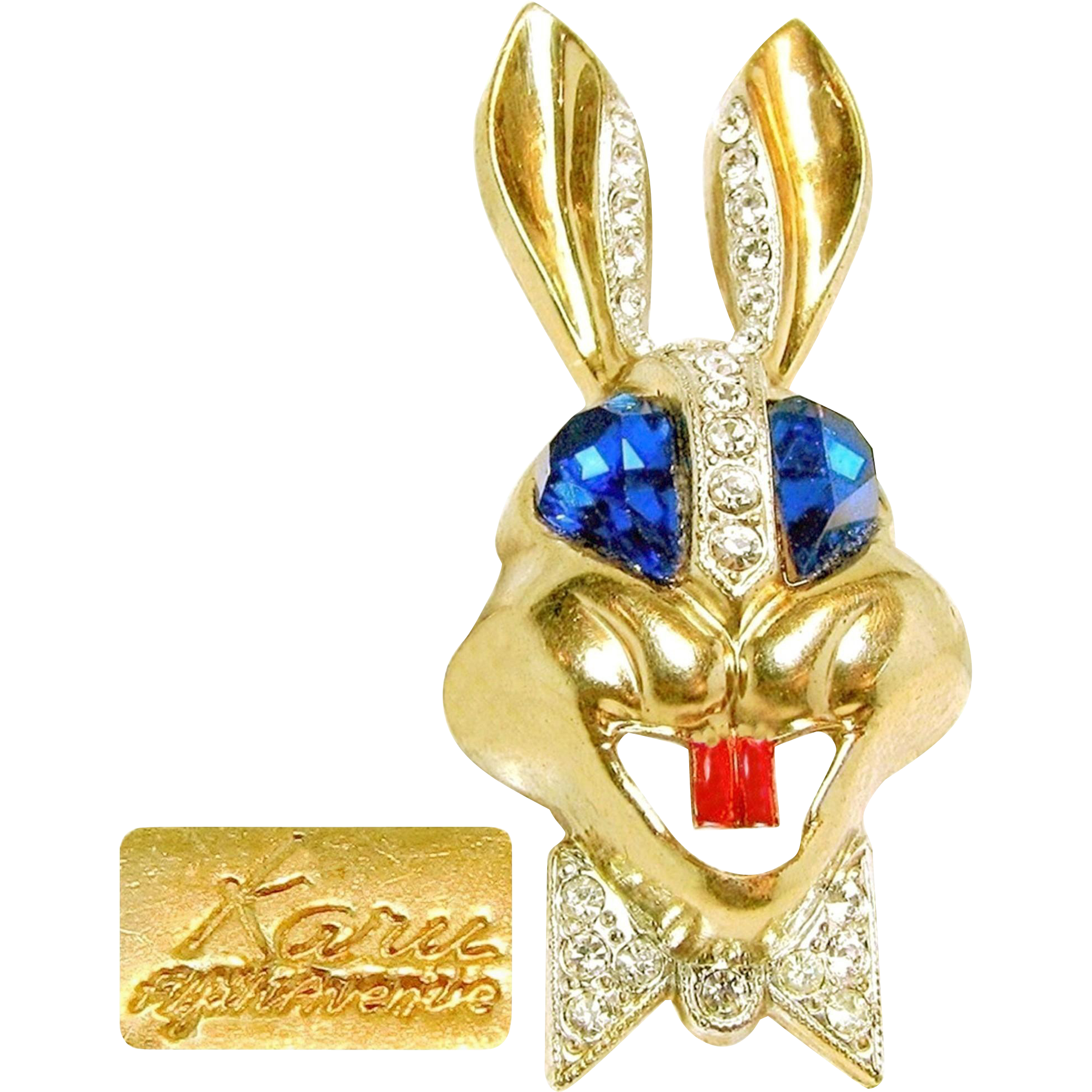 Vintage KARU Colorful Rabbit Brooch w/ Bright Blue Rhinestone Eyes