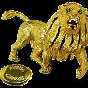Vintage HATTIE CARNEGIE Gilded Roaring Lion Brooch w/ Rhinestones 'n Enamel Accenting