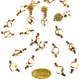 Vintage MIRIAM HASKELL Realistic Agate Art Glass Necklace w/ Pendant Earrings