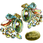 Vintage Alice Caviness Earrings of Watermelon Stones 'n Glitzy Rhinestones c.1950s
