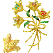 DESIGNER's Realistic Jewel-tone Rhinestone Brooch of a Bouquet of Long Stem Flowers
