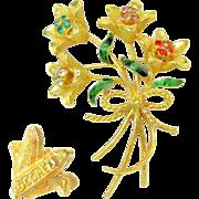 DESIGNER Realistic Jewel-tone Rhinestone Brooch of a Bouquet of Long Stem Flowers