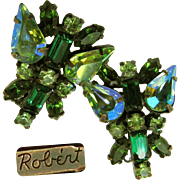 Fabulous 50's Famous Robert Earrings in Shades of Green Rhinestones