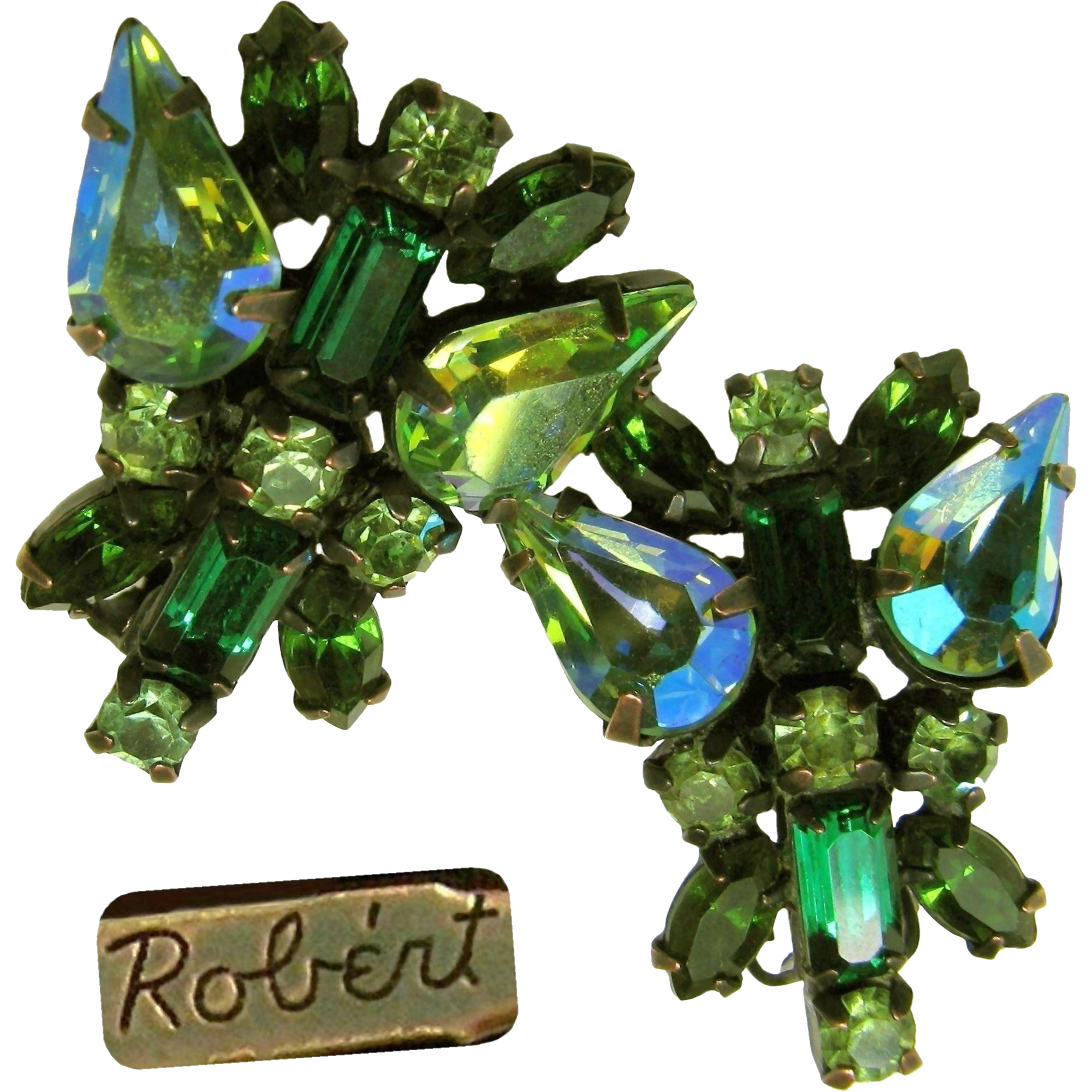 Vintage ROBERT Earrings in Shades of Green Rhinestones c.1950's