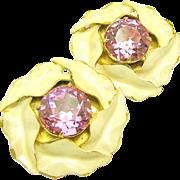 Vintage SANDOR Pink Headlight Rhinestone CALLA LILY Earrings c.1940's