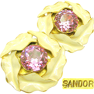 Vintage SANDOR Enamel CALLA LILY Earrings w/ Pink Headlight Rhinestones c.1940's
