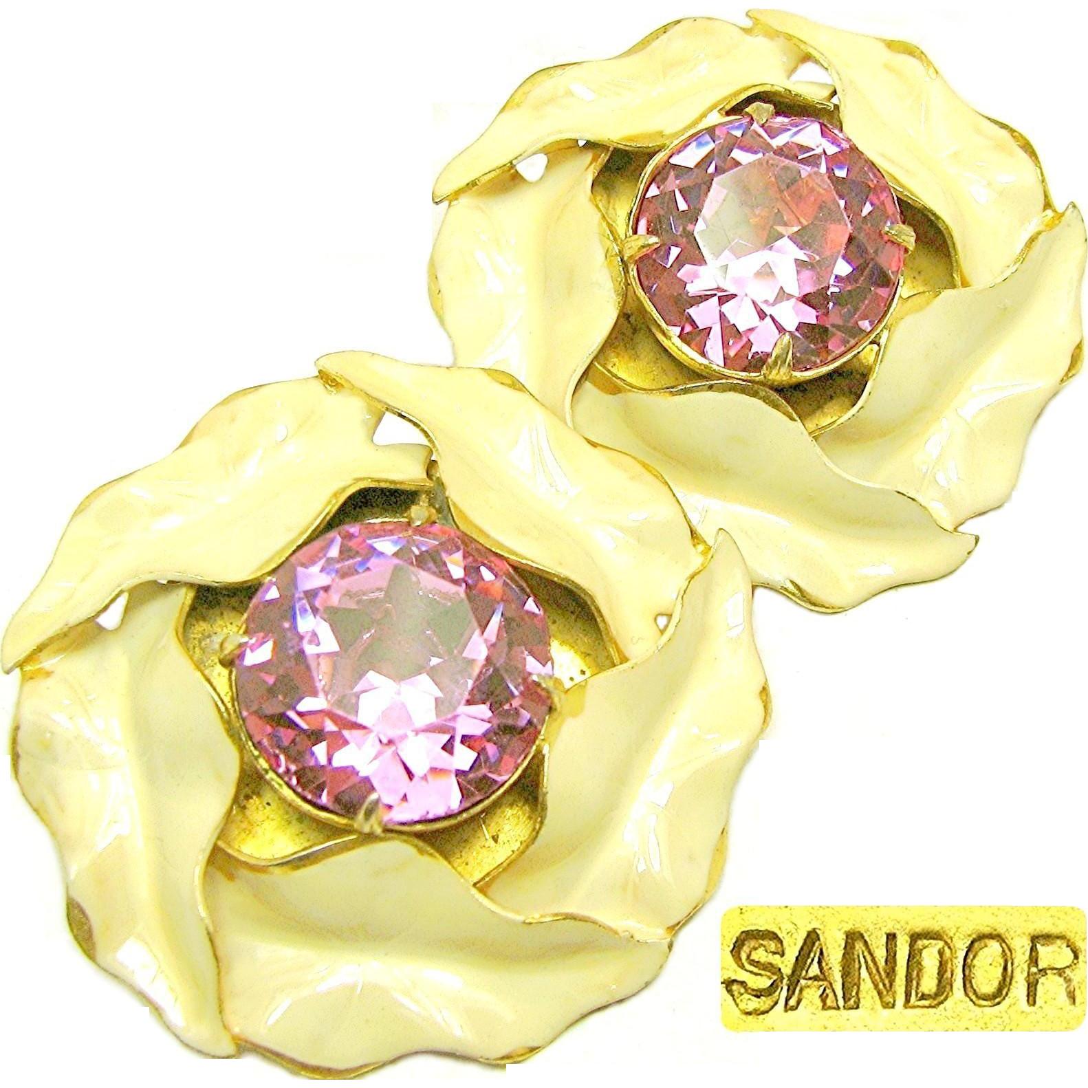 Vintage SANDOR Enamel CALLA LILY Earrings w/ Pink Headlight Rhinestones c.1940's
