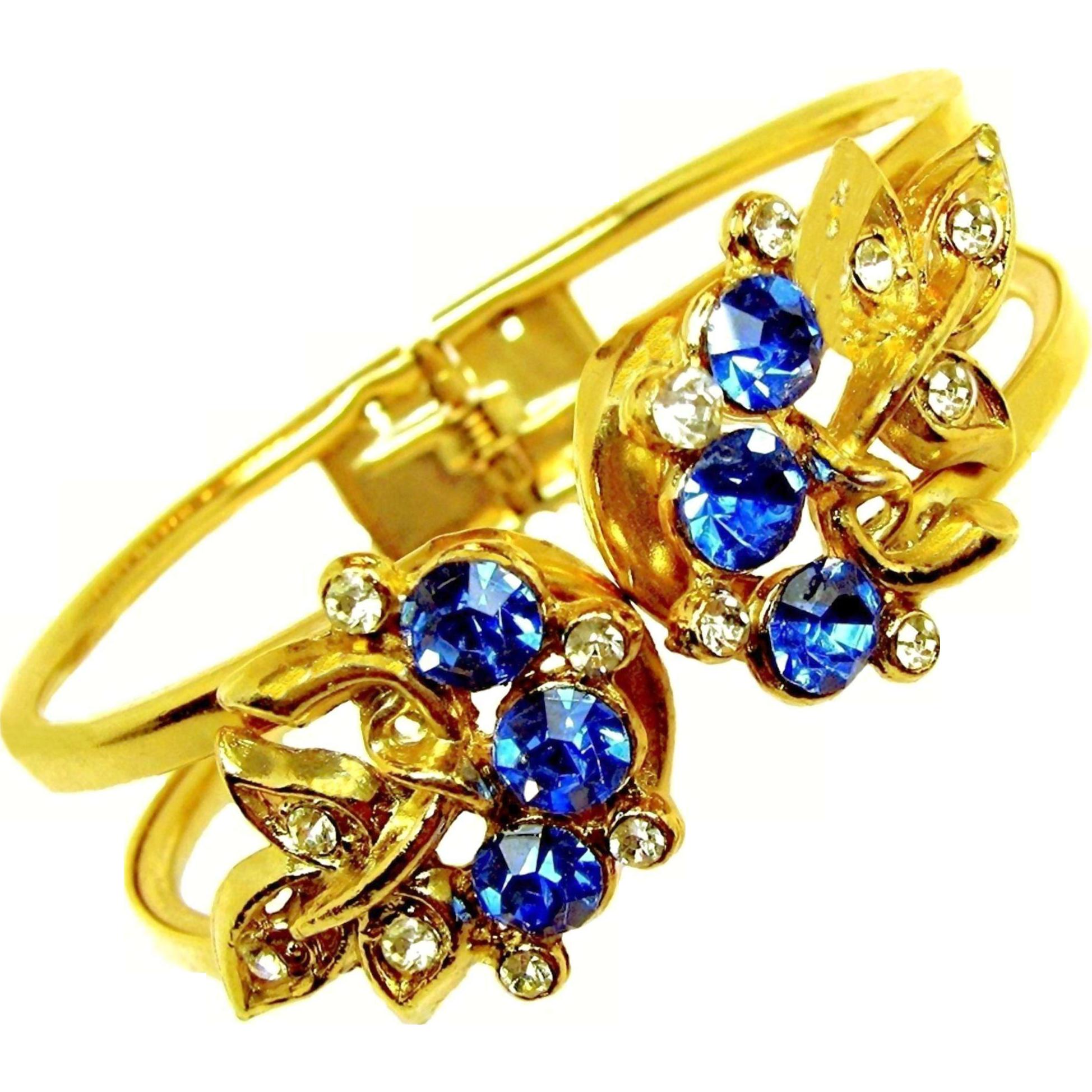 Vintage Rhinestone Mid-Century Floral Clamper Bracelet
