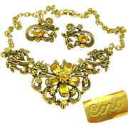Outstanding CORO Victorian Revival Necklace 'n Earrings Curly Ribbon w/ Rhinestone Flower Design