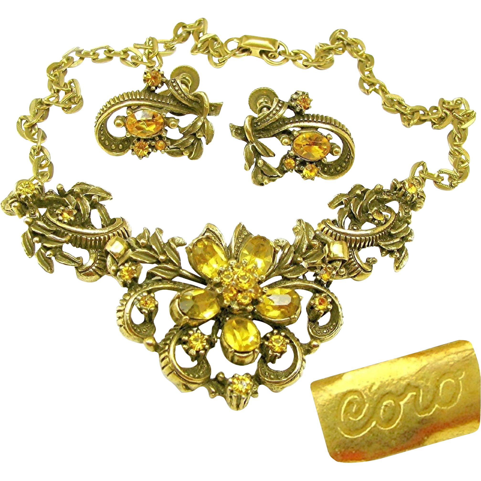 Vintage CORO Victorian Revival Necklace 'n Earrings Curly Ribbon w/ Rhinestone Flower Design