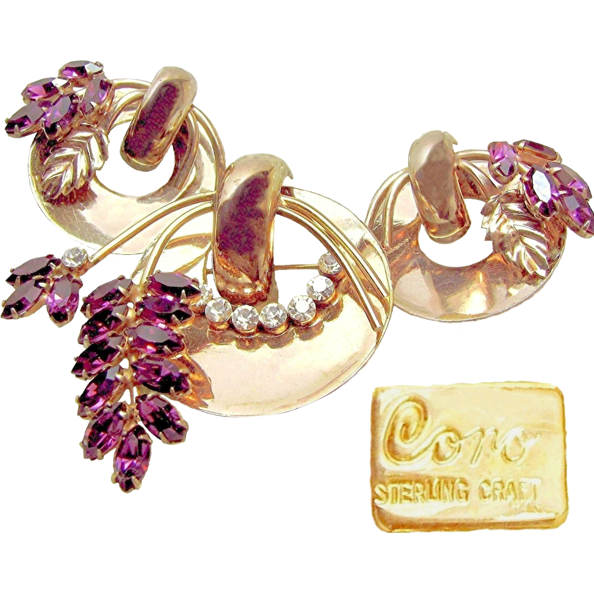 Stunning CORO STERLING CRAFT Gold over Sterling Set w/ Purple Rhinestones c.1942