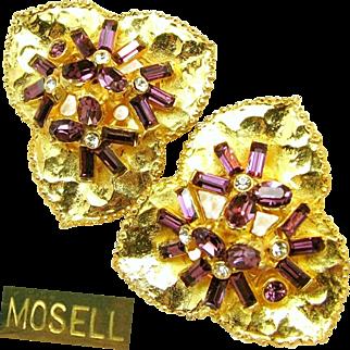 Vintage MOSELL Floral - LILY PAD Earrings w/ Amethyst Rhinestones c.1950's