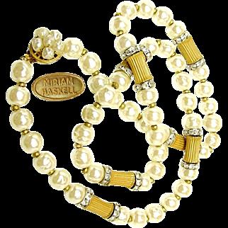 Vintage MIRIAM HASKELL BAROQUE Glass Pearl Necklace w/ Sparkling Rhinestone Rhondels